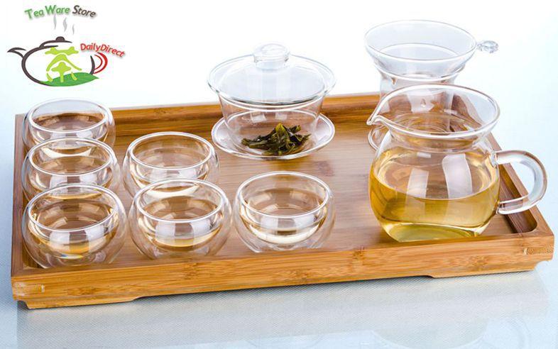 1x 10in1 Kung fu Glass Tea Set Heat Resisting Glass Gaiwan Tea Pot Strainer Pitcher Chahai