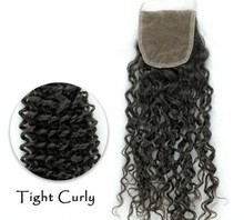 7A Kinky Curly 3Bundles With Lace Closure 130% Density 4*4 Top Lace Closure No Bleached Knots Human Hair With Closure