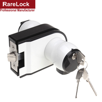 Rarelock Christmas Supplies Glass Door Lock Black White Single Double with Knob for Office Home Security Hardware DIY a
