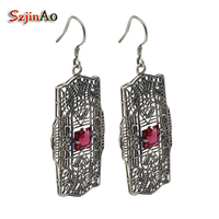Szjinao Korea classical personality trend hollow out red ruby decorative pattern 925 sterling silver luxury wedding earrings