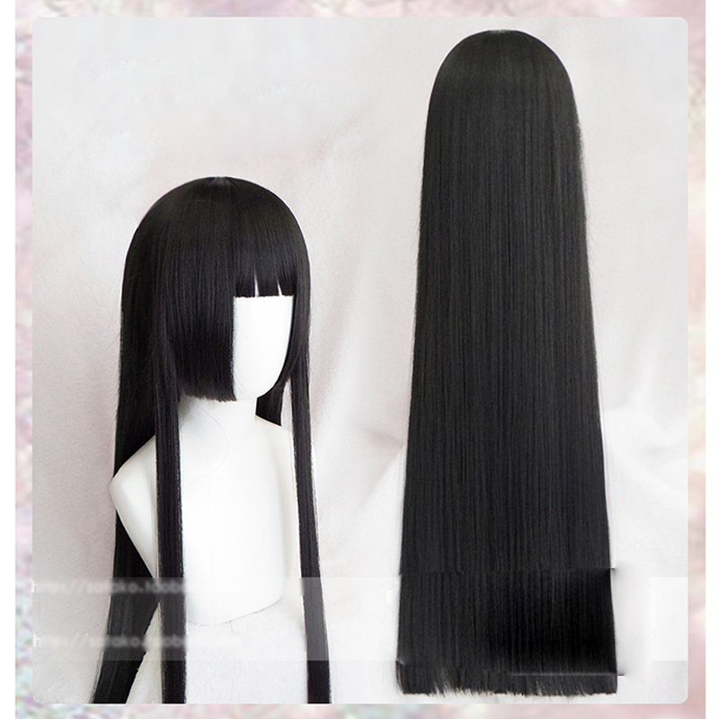 100cm Kakegurui Yumeko Jabami Cosplay Wigs Black Straight Heat Resistant Synthetic Hair Perucas Cosplay Wig(China)