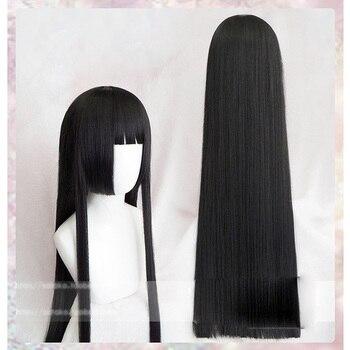 100cm Kakegurui Yumeko Jabami Cosplay Perücken Schwarz Gerade Hitze Beständig Synthetische Haar Perucas Cosplay Perücke