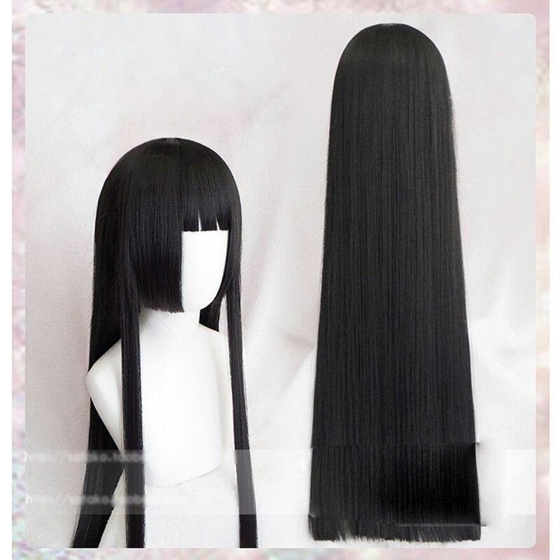 100cm Kakegurui Yumeko Jabami Cosplay perruques noir droit résistant à la chaleur synthétique cheveux Perucas Cosplay perruque