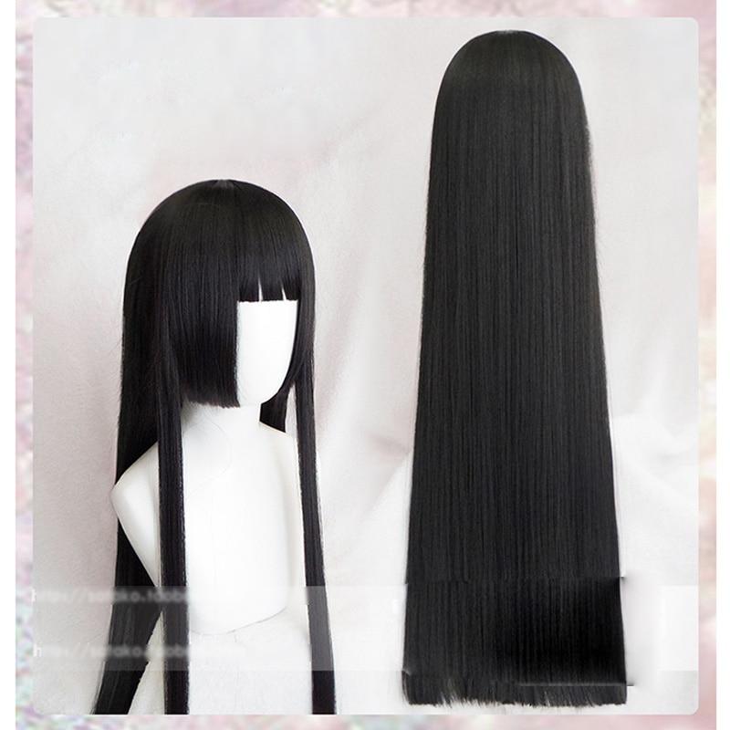 100cm kakegurui yumeko jabami perucas cosplay preto reta resistente ao calor peruca de cabelo sintético perucas cosplay