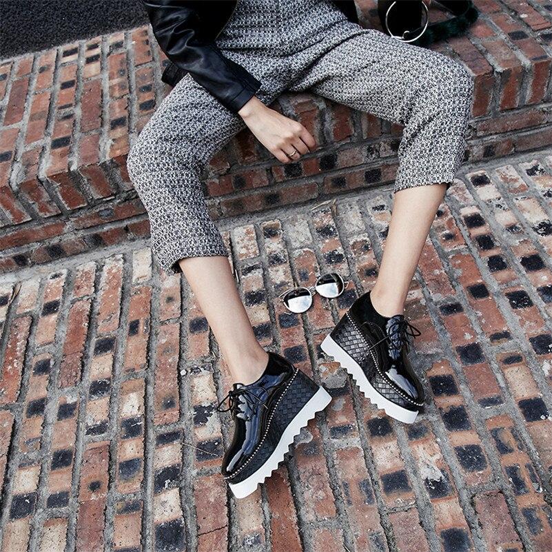 Pompes Conasco formes Nouvelles Femmes Up Chaussures Femme Plates Automne Casual Lace Rond Pour 2019 Talons Noir Les Printemps Compensées blanc Bout rEBwqSra