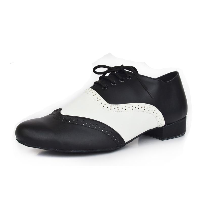 Black White Genuine Leather Men s Ballroom Latin Dance Shoes Salsa Shoes Suede Sole Heel 4