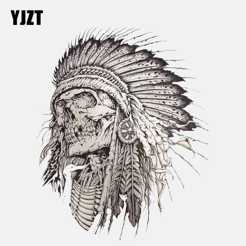 YJZT 10.6CM*13CM Personality Indian Skull Head Accessories Car Sticker Decal 6-2611
