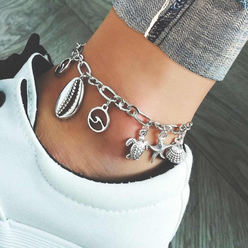 anklets with faux shell / turtle / scallop /wave designin silver tone