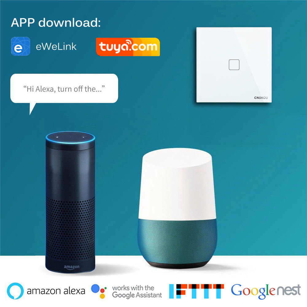 Cnskou US Standard 2 Gang light switch wireless Intelligent Automation APP Control works with google Assistant Aleax Nest in Switches from Lights Lighting