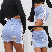 High Waist Ripped Holes Denim Skirts Women Sexy Bandage Lace-Up Jeans Skirt Female Skinny Hollow-Out Miniskirt Summer Fashion lace insert ripped denim skirt