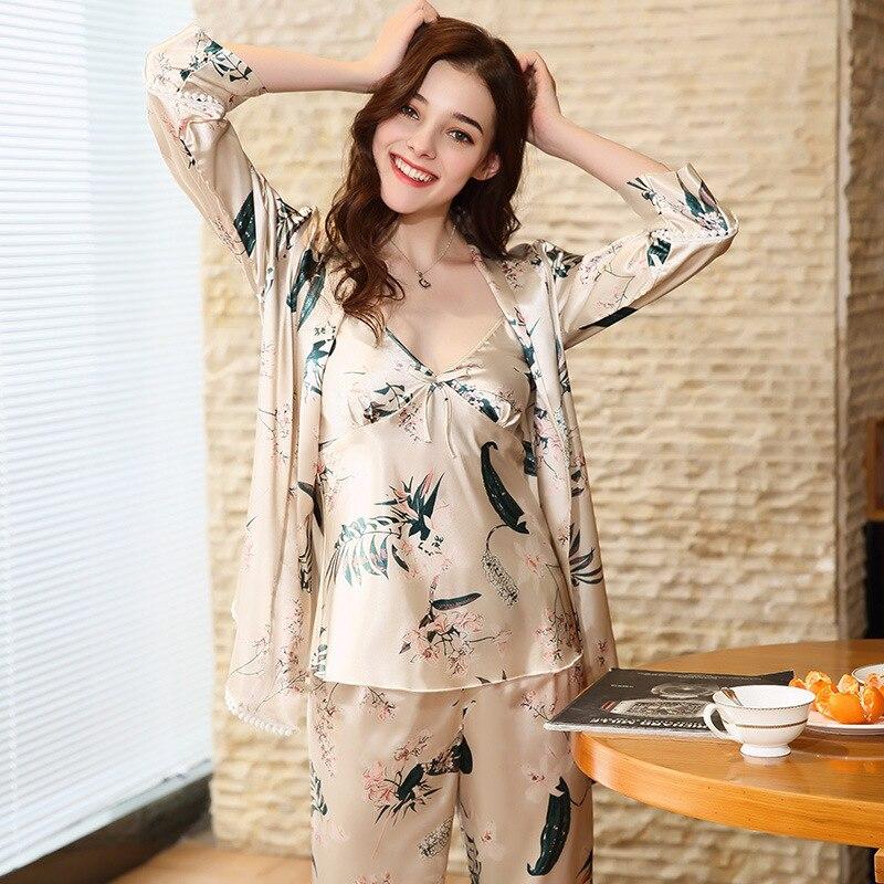 SSH0144 Satin Silk Pyjamas 2018 New Brand   Pajamas   Full Sleeves Pants Camisole 3 Pieces   Pajama     Set   Women Sexy Sleepwear Nightwear