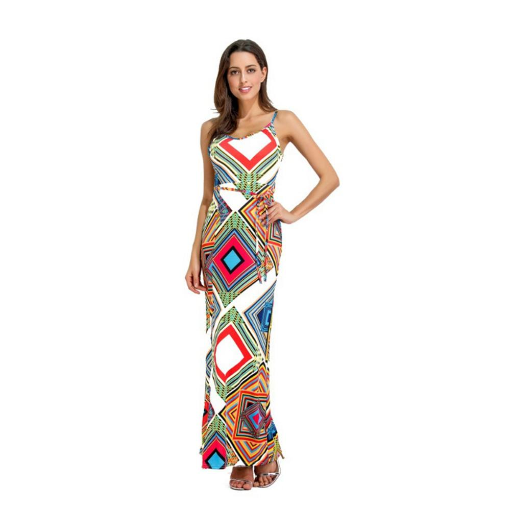 Women's European and American Style Sexy Floral Print Sling Strap Crisscross Backless Side Split Long Dress