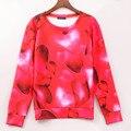 2016 nuevas llegadas sudadera mujeres corazón rojo impreso impresión hoodies de la manga larga sudaderas chándales capucha mujeres top