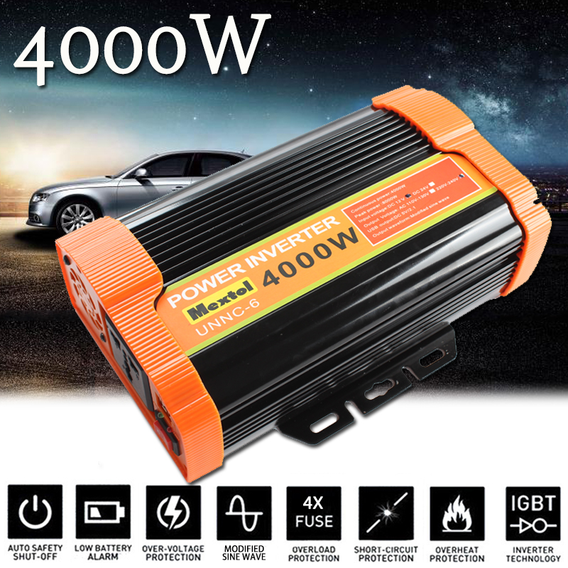 Power Inverter 4000W 12 V to AC 220 Volt Modified Sine Wave Converter Car Charge Converter Auto Transformer Max 8000 Watt 2 USB 12tq040 to 220 2