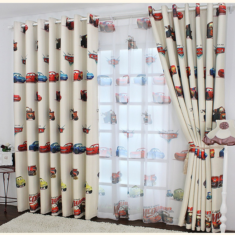 boys cars curtains and tulle blackout cloth nursery baby room wedding room curtains french blinds for kids bay window wp228 20 - Blackout Blinds For Baby Room