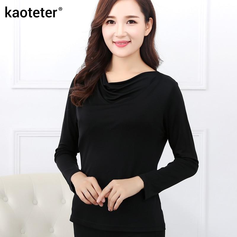 100% Pure Silk Womens T-shirts Femme Long Sleeve Loose Cowl Collar Wome Casual Tees T Shirt Tops Female Woman T-shirt Female