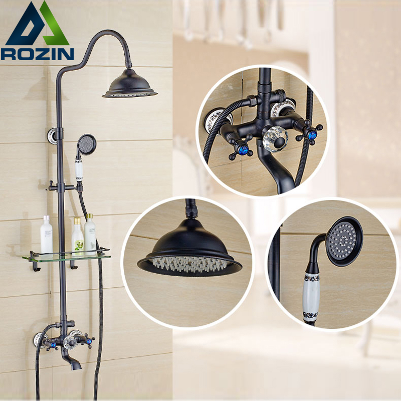 Retro Style Bathroom Shower Set Faucet W/ Commodity Shelf Hangers Dual Handle Shower Mixer Tap Rotation Tub Spout Wall Mounted black wall mounted 8 rain shower faucet mixer set with bathroom commodity shelf swivel tub spout hand shower bidet sprayer
