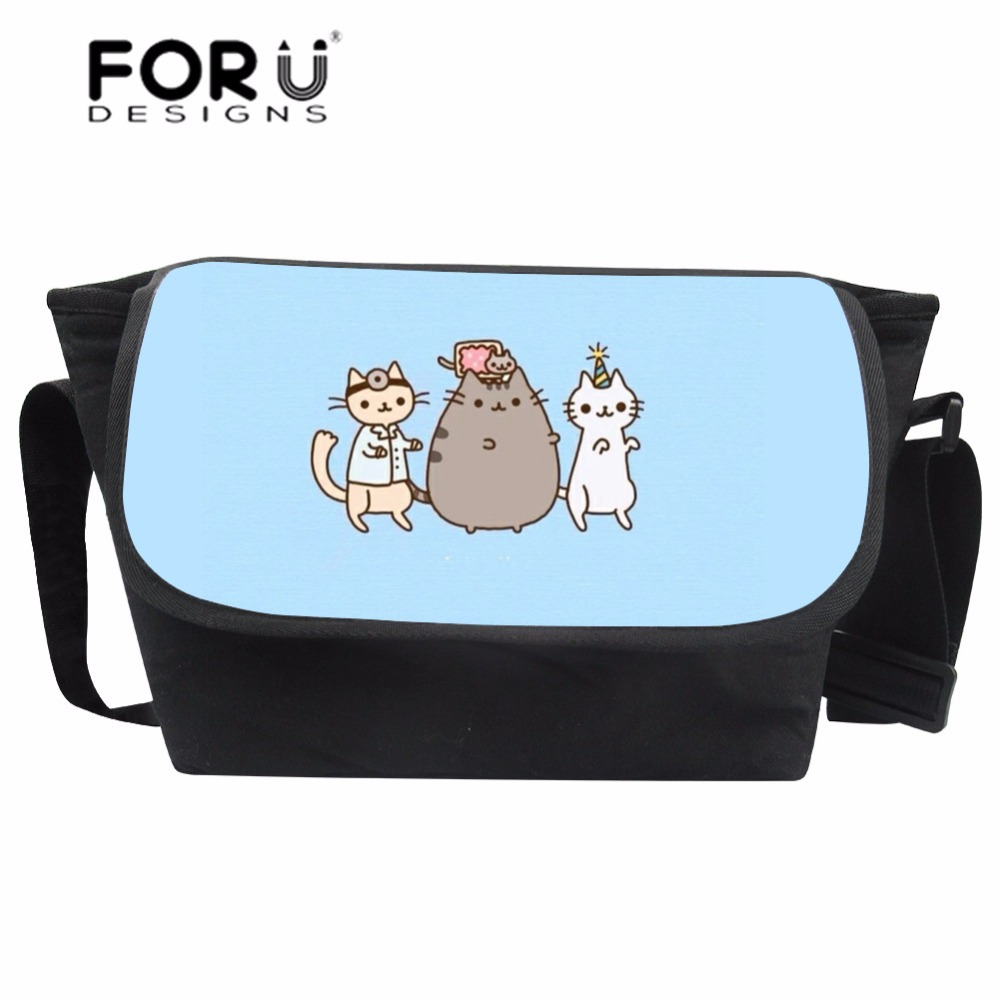 FORUDESIGNS Women Messenger Bags Teenagers Cartoon Pusheen Printing Crossbody Bag for Girls Canvas Shoulder Bag Bolsas Femininas 2017 new women printing backpack canvas school bags for teenagers shoulder bag travel bagpack rucksack bolsas mochilas femininas