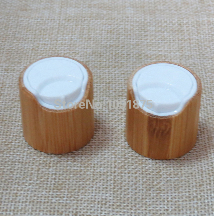 Free shipping 100pcs lot 24 410 bamboo disc top caps lids covers white color for cosmetic