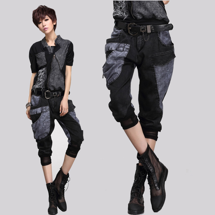 2018 New Women Casual Harem   Pants   Rock Hip-hop Punk Style Denim Patchwork Zipper   Pants   Summer Fashion Thin Jeans   Capris