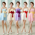 ZX108#Wholesale custom 2016 new bride dress hit color bow short paragraph Bra toast clothing bridesmaid dress