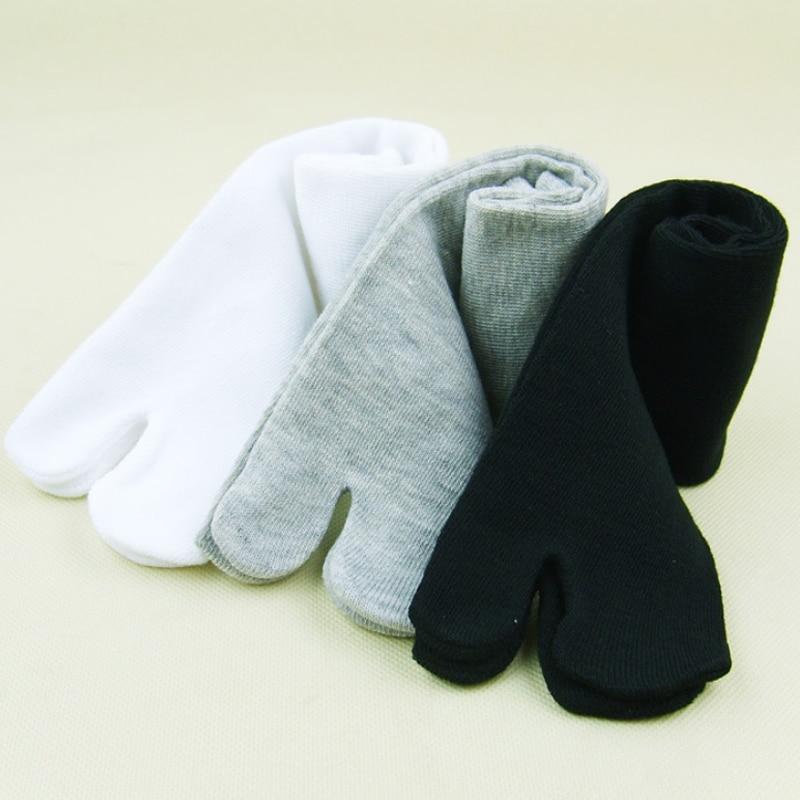 Japanese Two Finger Socks Black White Toe Socks Unisex Bamboo Fiber Sandal Split Ninja Kimono Flip Flops Summer Men and Women