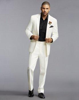 Custom Made Mens Suits Groomsmen Notch Lapel Groom Tuxedos Ivory Wedding Best Man Suit (Jacket+Pants+Tie+Hankerchief) B671