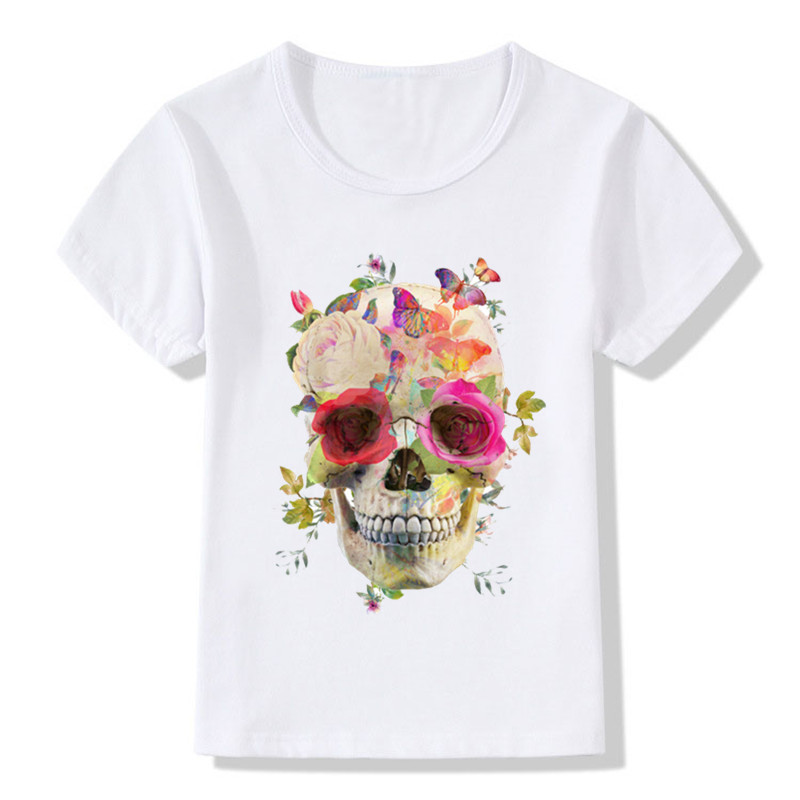 2018 Children Flower Skull Print Funny T Shirts For Girls ...