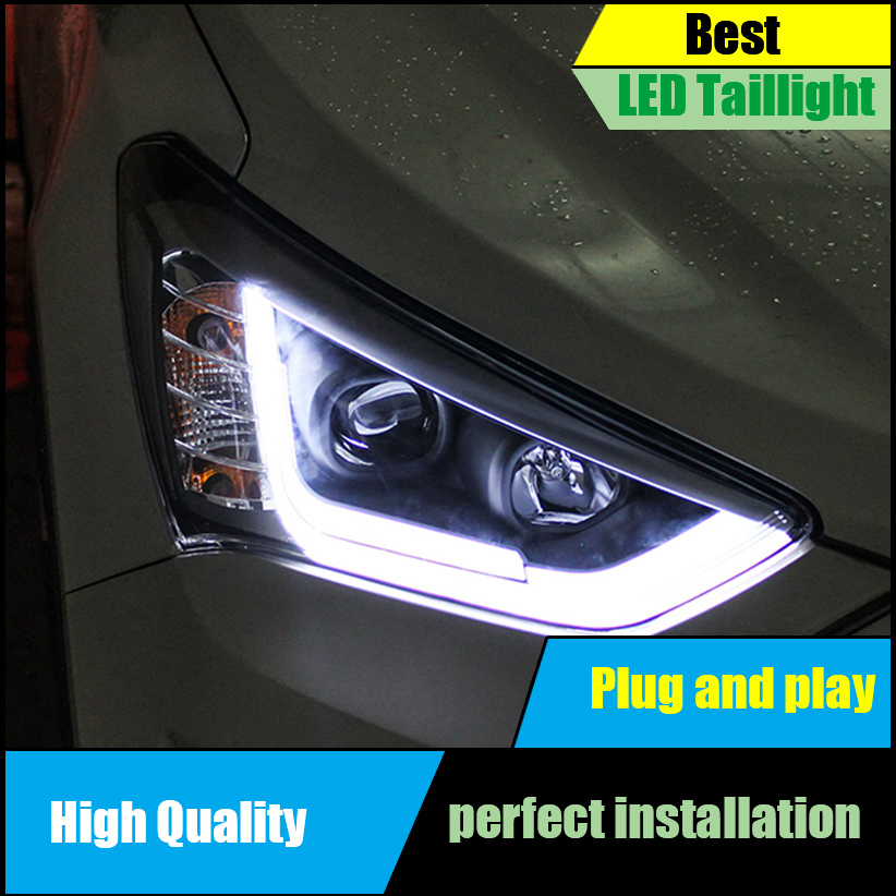 Car Styling for Hyundai SantaFe IX45 2013-2015 Headlight Assembly LED Headlight DRL Lens Double Beam H7 Xenon Car Accessories
