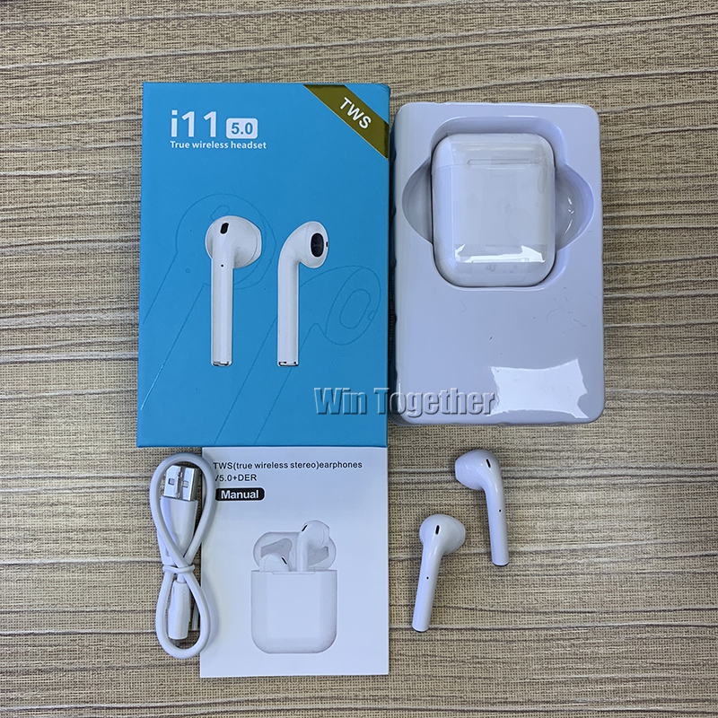 50PCS i11 TWS Wireless 5 0 Bluetooth Head phones Charging Box Twins Mini Earbuds for iPhone