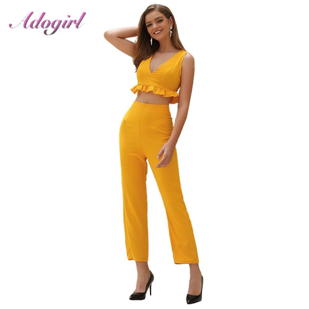 Adogirl Two Pieces Set Women Casual Ruffle V Neck Off Shoulder Crop Top + Loose Wide Leg Pants Suit Female Outfit Tracksuits