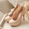 Nuevos 2016 zapatos de tacón alto para el partido bombas desnudas de las mujeres deslizamiento en los zapatos de plataforma de tacón alto del partido stilettos novia zapatos de las señoras tacones