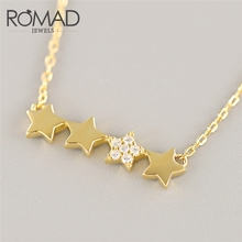 ROMAD 925 sterling silver Pendant Necklace Pentacle Pentagram Engagement Jewelry For Women Lovers Gold Color