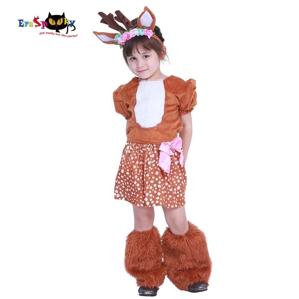 Eraspooky Halloween Costume For Kids Cute Reindeer Christmas Costumes Girls Fawn Cosplay Animal Deer Dress Suit For 4-14 Years halloween costumes for 14 year olds