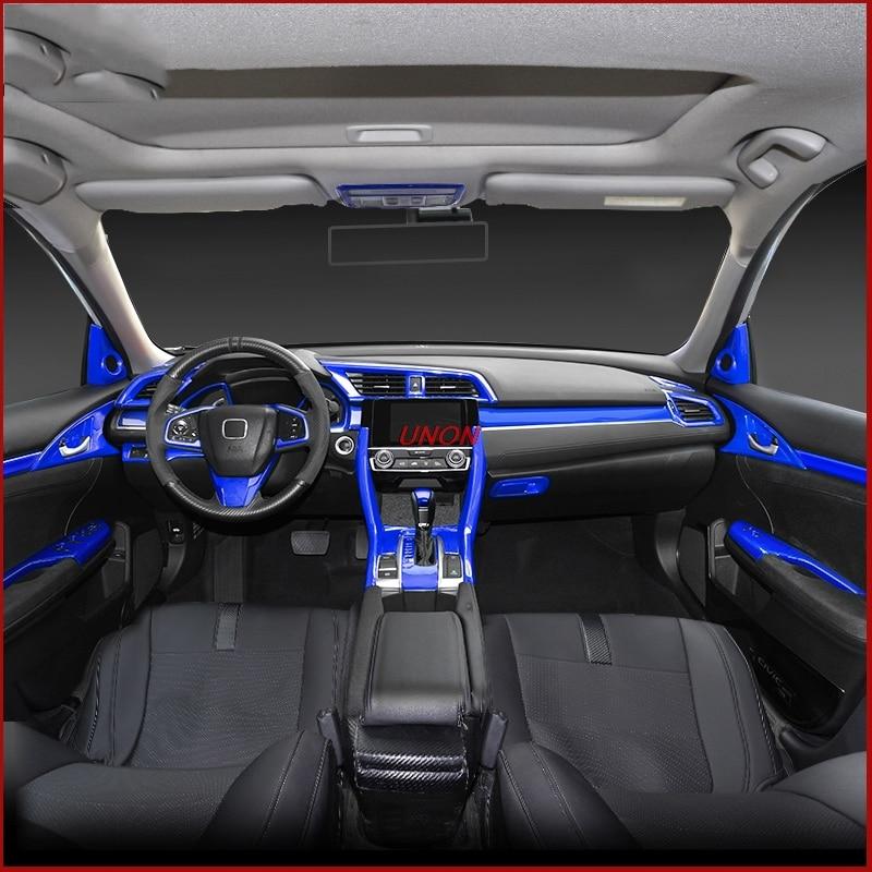 Civic Sedan Interior: Blue Colors Car Interior Full Mouldings Trim Sticker Car
