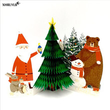 XHRLYLB 1pc Christmas Card Hot Stamping 3D Stereo Large Tree Series Decoration DIY Party Supplies Mask.7z