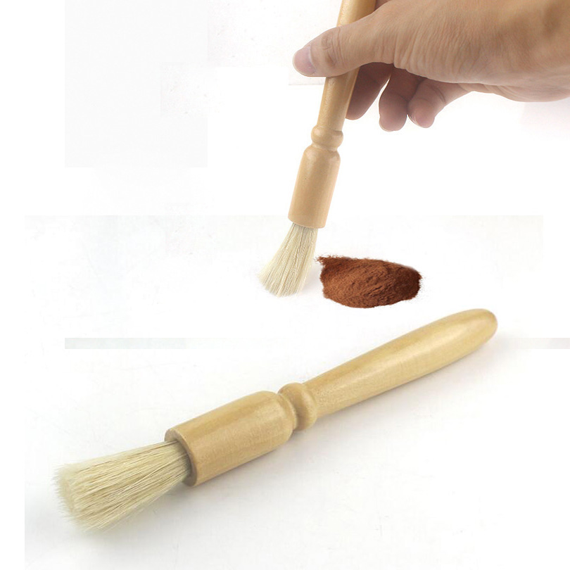 Wood Handle Coffee Grinder Pig Bristle Hair Brush, Household Kitchen Powder Cleaning Brush