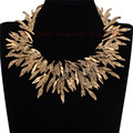 Women's Charm Gold Silver Metal Leaf Chain Chunky Bib Statement Collar Necklace