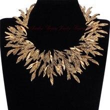 Mujeres de oro del encanto de la hoja de Metal de plata cadena Chunky babero del Collar Collar de la declaración