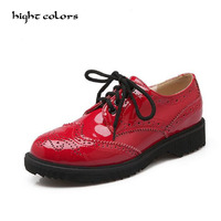Brand Brogue Shoes Woman Candy Colors Platform Women Oxfords British Style Creepers Cut Outs Flat Casual