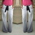 2016 Nova Moda Senhora Mulheres Estilo do Verão calças Calças Corredores das mulheres Listrado Calças Compridas Plus Size