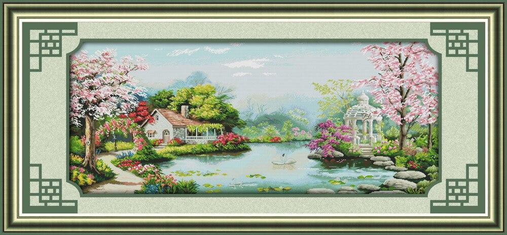 La plantation de l'amour imprimé toile DMC compté point de croix Kits imprimé point de croix ensemble broderie couture