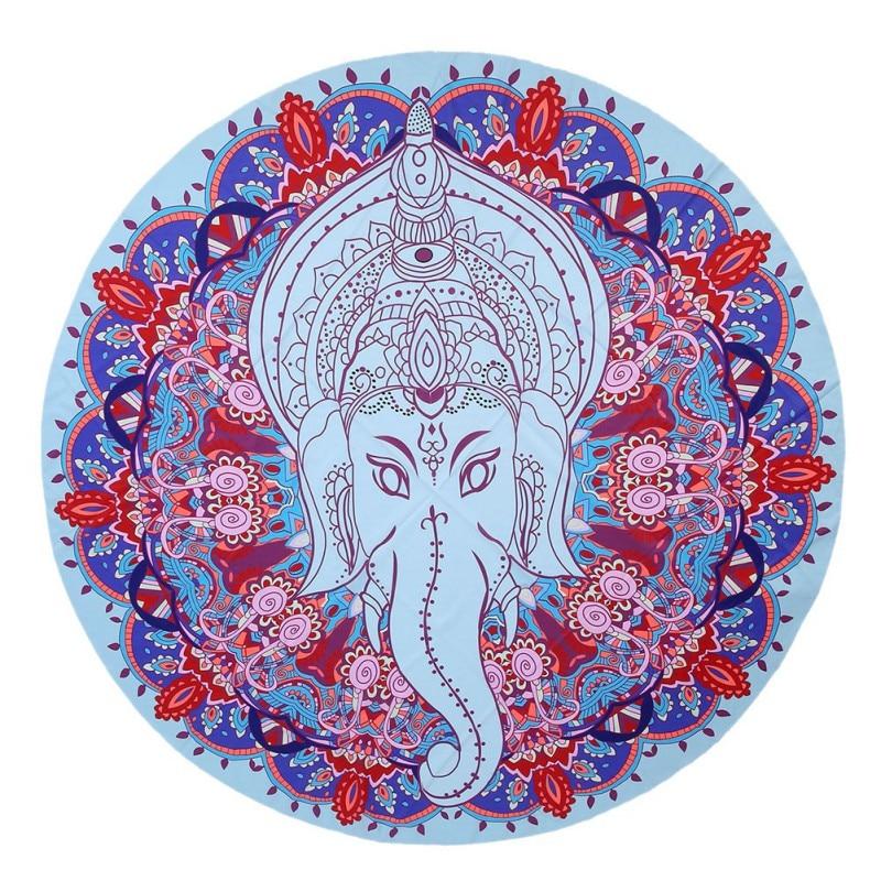 verano indio mandala ronda elefante de la impresin floral tapestry wall hanging playa tiro yoga mat decorativo cm ronda toa