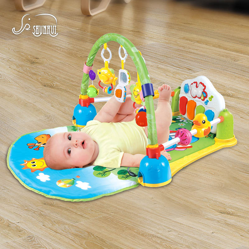 Baby Play Mat Crawling Toys SHUNHUI Infant Fitness Rack Carpet with Musical Keyboard Gym Rug Pad Develop Toy for Children sassy seat doorway jumper 5 toys with musical play mat