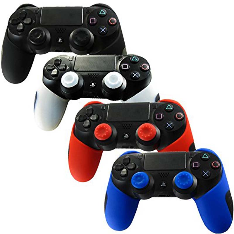 Thicker Half Soft Silicone Skin Cover for PS4 /SLIM /PRO Controller Wireless With thumb sticks grips X 2