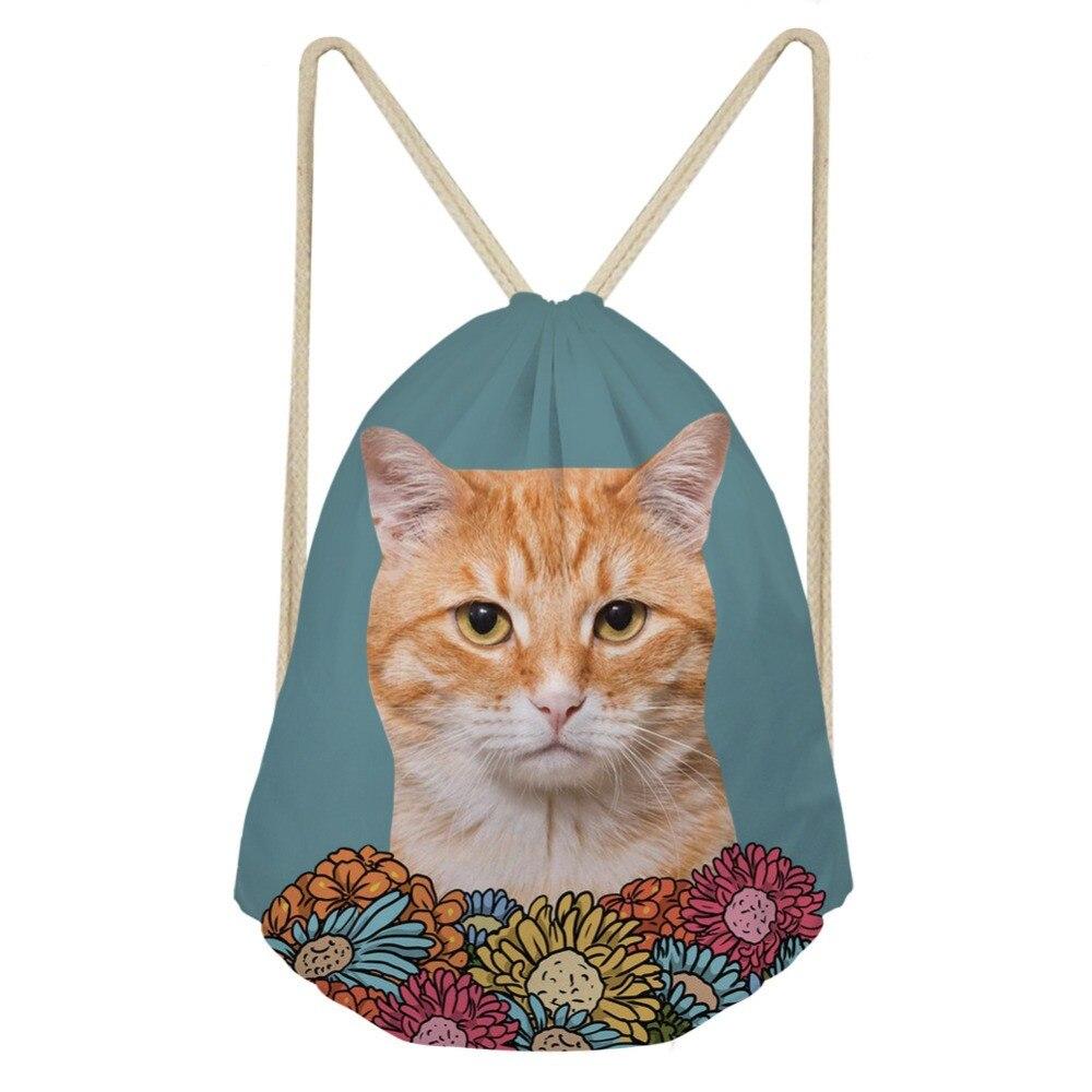 Fashion Women Drawstring Bags 3D Brand Design Cat Flower Animal Prints Travel Straps Storage Backpack Light WeightSumka