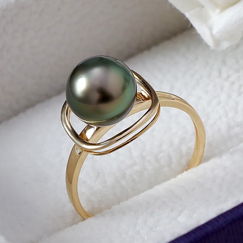 YS czysta 14 k złota 8 9mm czarny Tahitian perła pierścionek mała biżuteria ślubna w Pierścionki od Biżuteria i akcesoria na  Grupa 2