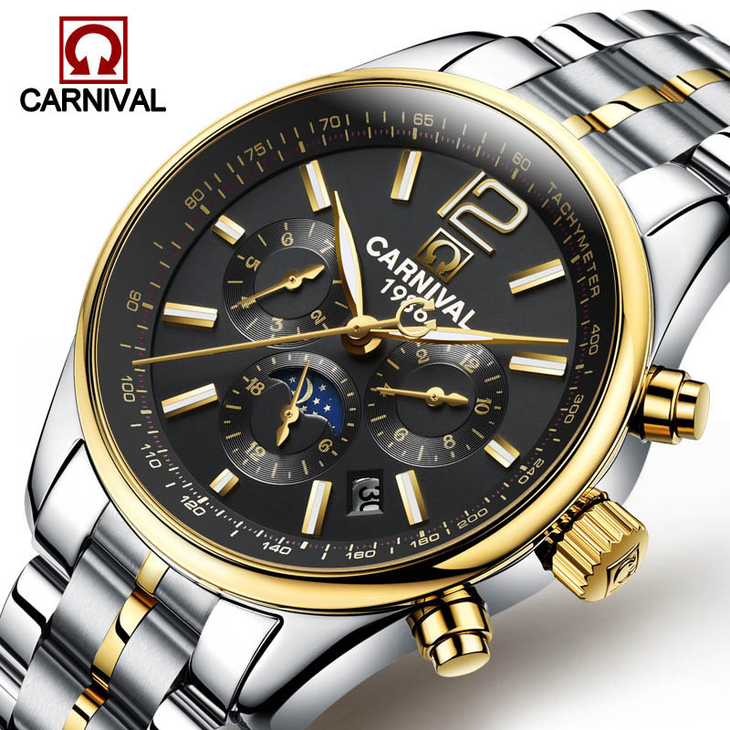 Carnival Multifunction Mechanical Watch Male Stainless Steel Automatic Mens Watches Top Brand Luxury Moon phase Luminous Clock carnival iw mens mechanical watches top brand luxury automatic watch men stainless steel moon pashe calendar clock reloj hombre