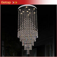 Modern LED Staircase Crystal Chandelier Penthouse Hotel Restaurant Long K9 Crystal Lamp Villa Hall Chandelier Home
