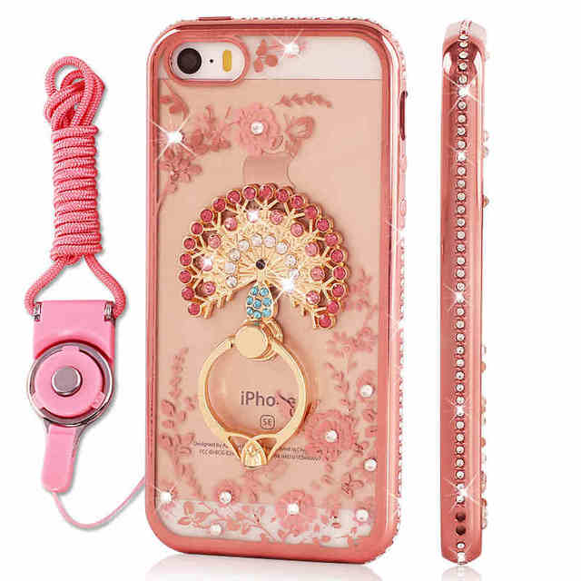 Luxury Rhinestone case cover stand holder for iphone 5s SE Silicone soft case  diamond iphone5s 5G back cover bling women cases a827f03f07